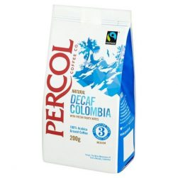 Percol Colombian Decaf Fresh Ground Coffee is made from fairtrade Arabica beans selected from the finest plantations nestled in the foothills of the Andes. It has a rich aroma with a hint of nuts. This full-bodied coffee is smooth with citrus notes on the finish. Ideal for filter coffee machines and fresh-brew vending machines. Percol Colombian Decaf Fresh Ground Coffee 6x200g